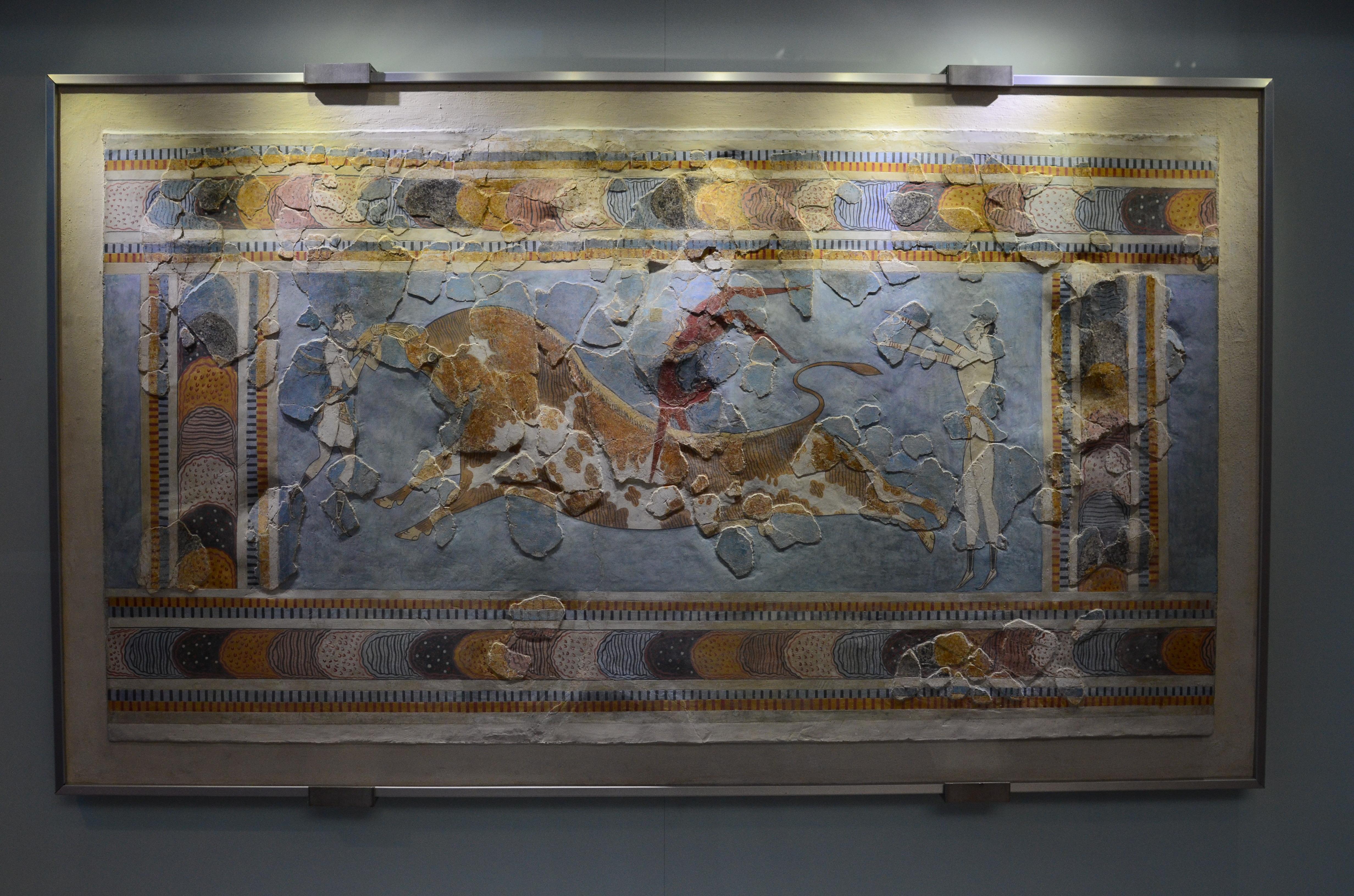 Minoan Bull Acrobat Fresco